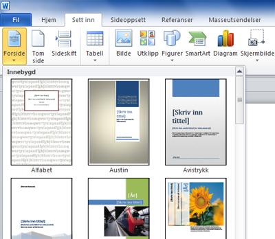 hvordan lage forside i Word | TransOnline-bloggen: Språk, skriving og e-publisering