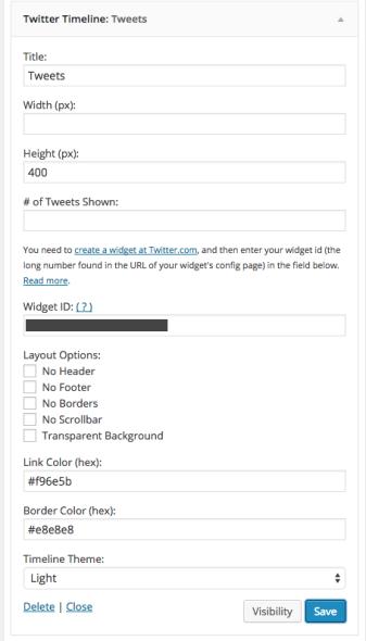 Twitter widget settings